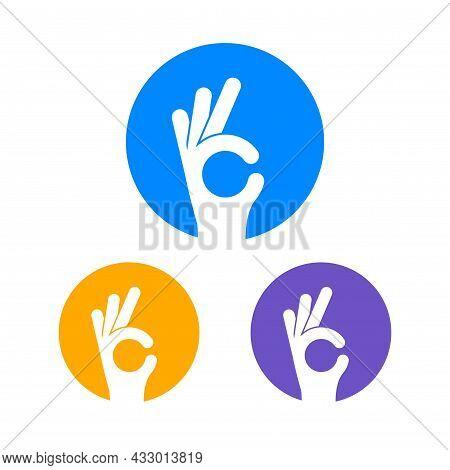 Ok Hand Sign Vector Finger Logo. Ok Hand Symbol Perfect Okay Gesture Circle Icon