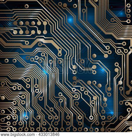 Circuit Board Background. Technology Concept, Dark Background. Analog Circuit. Electronic Computer T