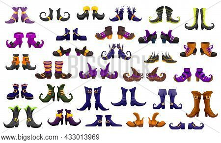 Cartoon Boots, Shoes Of Fairy, Witch, Wizard And Warlock Or Sorceress And Enchantress, Vector Icons.