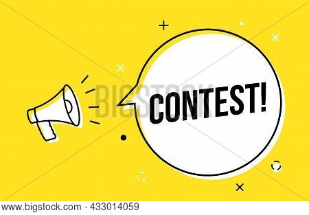 Contest Social Media Giveaway Competition Vector Background. Megaphone Contest Banner