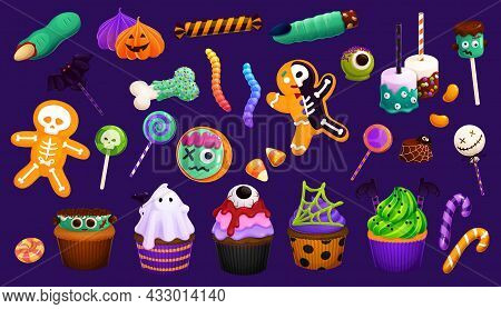 Cartoon Halloween Sweets, Cupcakes And Lollipops, Candy Corns And Witch Finger Cookies Or Marshmallo
