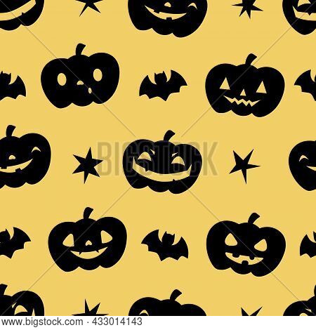 Halloween Seamless Patterns With Pumpkins, Stars Ans Bats. Perfect For Decoration, Wrapping Papers,