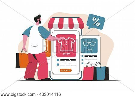 Mobile Commerce Concept Isolated. Online Shopping, Payment In Mobile Application. People Scene In Fl