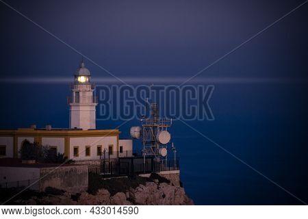 Mesa Roldan Lighthouse At Night, Cabo De Gata Nijar Natural Park In Almeria Province, Andalusia Spai