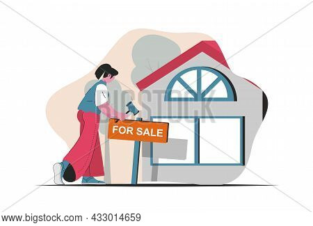 Real Estate Concept Isolated. Homes For Sale, Realtor Services, Bank Loans, Mortgage. People Scene I