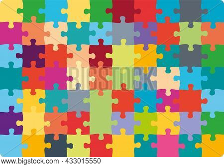 Jigsaw Puzzle 10x7 Square Colorful Piece Template. Jigsaw Puzzle Grid Vector Stroke Scheme