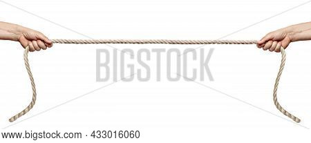 Close Up Of A Hand Pulling A Rope On White Background