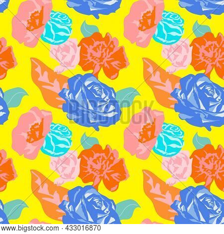 Yellow spring floral pattern with roses colorful background