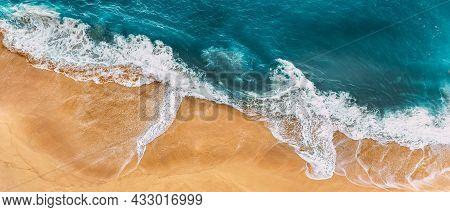 Sandy Beach, Panorama. Panoramic View Of The Sandy Beach. The Sea Wave Rolls On The Shore. Sea Coast