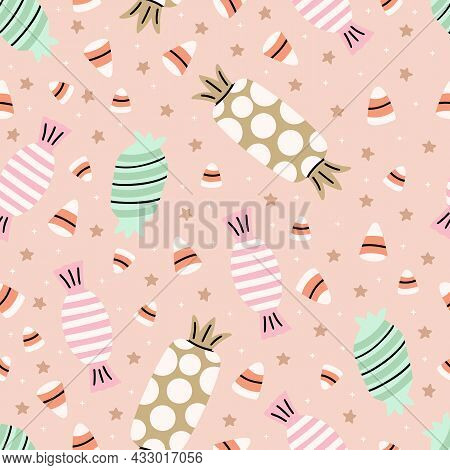 Cute Illustrated Halloween Pattern. Seamleass Repeated Background. Candy, Candy Corn, Lolypop.