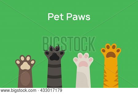 Pet Paw Print Vector Icon. Dog Or Cat Foot Black Paw Animal Isolated Illustration