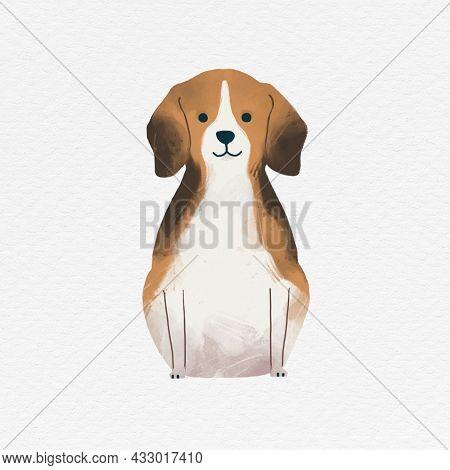 Beagle dog illustration on white background