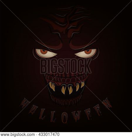Ugly And Spooky Monster Face Halloween Poster Vector