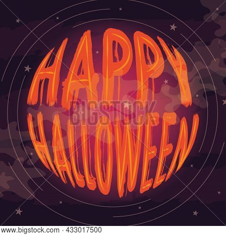 Happy Halloween Text On A Moonlight Skyscape Vector