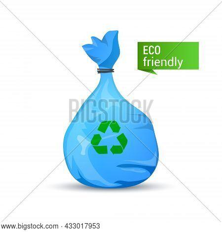Rubbish Garbage Bag Vector Plastic Icon. Trash Recycle Rubbish Bin Cartoon Illustration Design