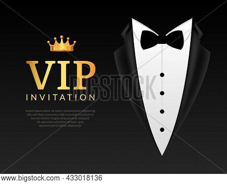 Vip Invitation Event Bow Tie Background. Gentleman Business Vip Card Invitation Elegant Template