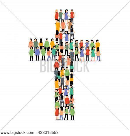 People Cross Group Crowd Christian Church Jesus Background. Cross In Cross Shape