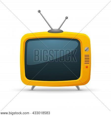 Retro Tv Cartoon Background Media. Orange Yellow Retro Tv Old Vintage Vector Cute Icon