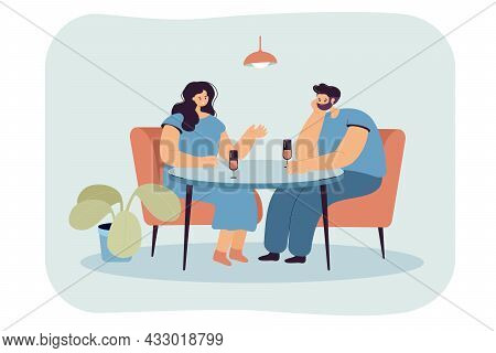 Cartoon Husband Ignoring Wife While Sitting At Table Drinking. Distant Aloof Lover Showing Indiffere
