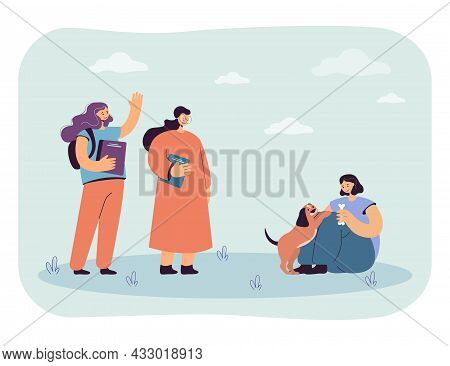 Cartoon Girls Greeting Classmate Playing With Puppy. Kid Meeting Friends And Having Fun With Dog Fla