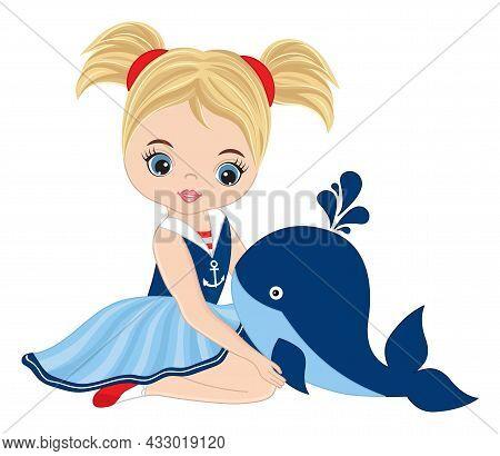 Vector Teen Cute Girl Wearing Nautical Dress. Beautiful Girl Holding Baby Whale. Cute Girl Is Blond