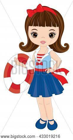 Vector Teen Cute Girl Wearing Nautical Dress. Beautiful Girl Holding Life Buoy. Cute Girl Is Brunett