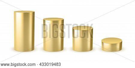 3d Gold Cylinder Design Scene Stage Template. Golden Cylinder Steel Metal Pipe