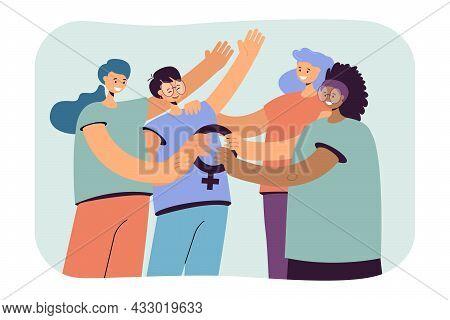 Cartoon Women Holding Female Symbol Together. Group Of Happy Feminists Flat Vector Illustration. Fem