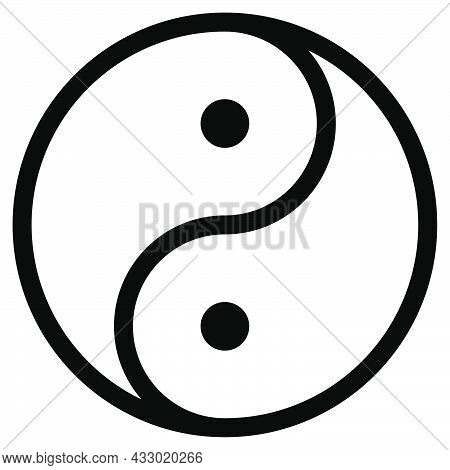 Ying And Yang. Harmony Symbol. Outline Yin Yang In Circle. Transparent Balance Symbol In Black And W