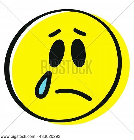 Crying Emoticon. Hand Drawn Cartoon Character. Crying Smiley Face In Yellow