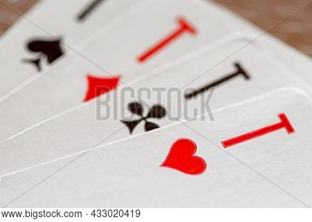Playing Cards, Aces Of Hearts, Clubs, Diamonds, Spades, Macro Close-up, Selective Focus