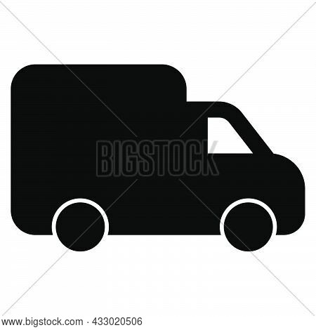 Delivery Lorry. Shipping Van. Courier Transport. Lorry Icon. Delivery Symbol In Glyph