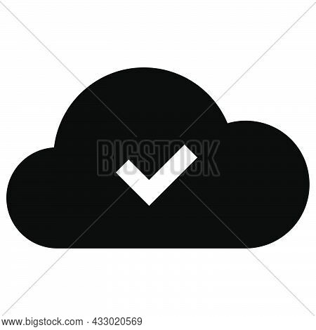 Ready Status With Cloud. Checkmark Sign And Cloud Symbol