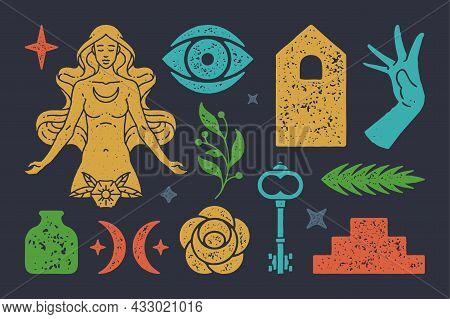 Magic Boho Goddess Of Moon With Mystical Crescent