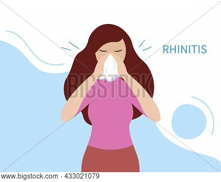 Rhinitis Illness. Runny Nose. Sick Woman Sneezes And Holds Handkerchief Blowing. Disease Concept. Ve