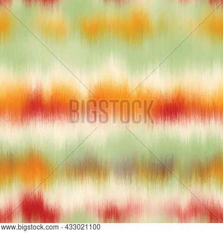 Seamless Vector Tie Dye Multicolor Bleeding Stripe Pattern For Surface Print