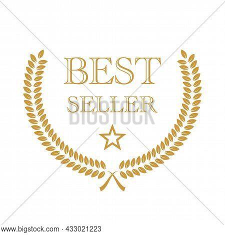 Best Seller Award Icon Badge, Top Quality Logo, Premium Emblem Stamp With Laurel Wreath