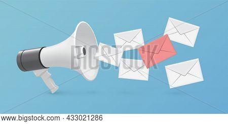 Megaphone And Letter Mail Envelopes, Realistic 3d Bullhorn, Flying Social Media Messages