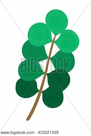 Hand-drawn Branch, Twig With Green Rounded Leaves, The Texture Of Chaotic Thin Lines, Minimal, Simpl