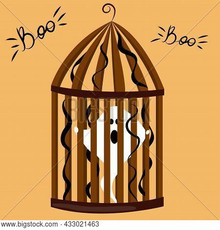 Horror Ghost On Halloween. Ghost In Cage. Happy Halloween. Boo Phrase. Vector Cartoon Illustration.
