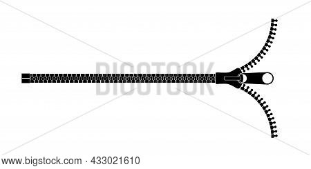 Clothing Fastener Horizontal Vector Icon. Close Up Open Zipper For Jacket And Shirt Clipart. Detaile