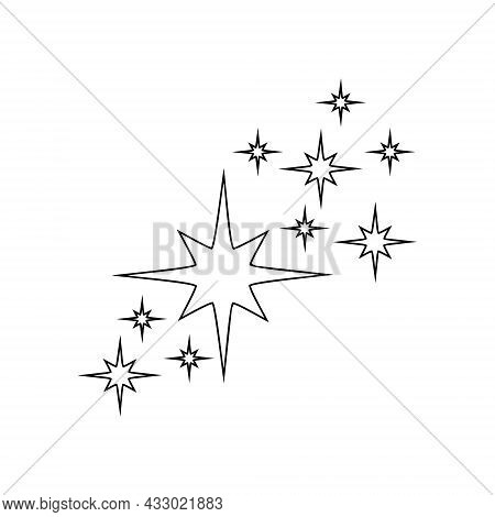Outline Starry Sparkles And Twinkles Icons Isolated On White Background. Brightening Flash, Sparklin