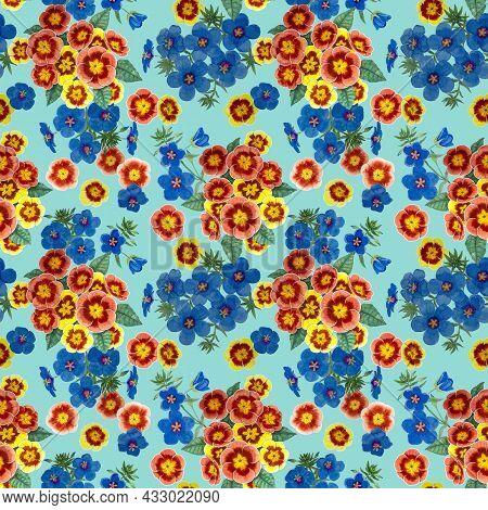 Orange Pimpernel And Blue Scarlet Flower Blossom On Green Color Background, Watercolor Blue Petals F