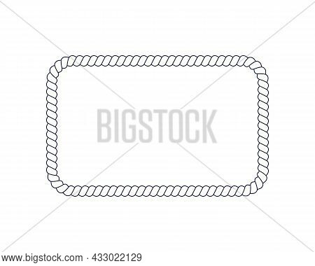 Rectangle Rope Frame For Photo Or Picture In Retro Yacht Style. Design Element In Maritime Style For