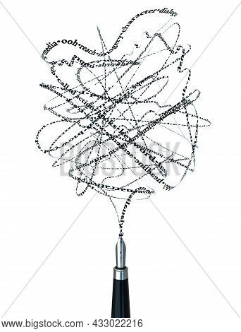 A Concept Of A Fountain Pen Emitting Writing Words And Terms In A Continous Stream On A White Backgr