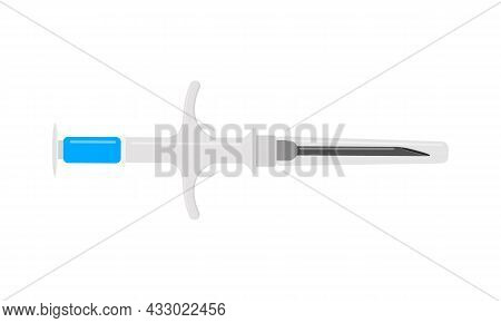 Syringe For Pet Microchipping. Veterinarian Tool For Dog Or Cat Implant Procedure. Concept Of Pets P