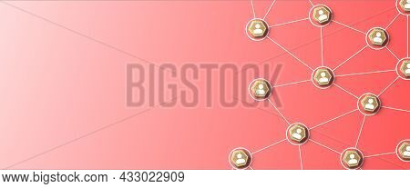 Network, Teamwork And Community Concept. Avatars Or Icons Connected Together On Red Background. 3d R