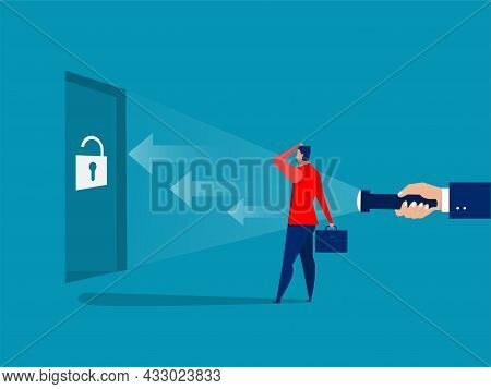 Businessman Looking Guideline At The Way For Shooting Success Concept Vector Illustrator