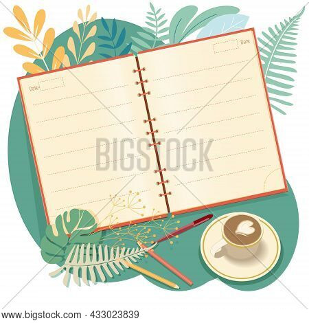 An Open Notebook, A Glider, A Calendar, Organizer Or A Diary. Realistic Layout With Blank Pages, Vec