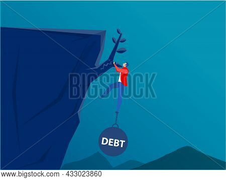 Businessman  Hold On The Cliff With Debt Burden.financial Crisis Concept Vector